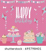 cute happy birthday card... | Shutterstock .eps vector #695798401