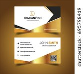 gold and black business card | Shutterstock .eps vector #695798419