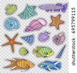 set of colorful shells and... | Shutterstock .eps vector #695799115
