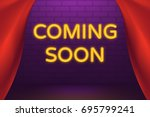 coming soon neon light sign.... | Shutterstock .eps vector #695799241