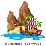 kids sailing on pirate ship... | Shutterstock .eps vector #695799391