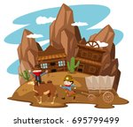 kids playing cowboy in western... | Shutterstock .eps vector #695799499