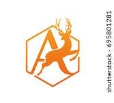 vector orange antelope running... | Shutterstock .eps vector #695801281