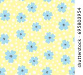 Flowers And Polka Dot. Drawn B...