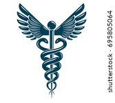 caduceus medical symbol ... | Shutterstock .eps vector #695805064