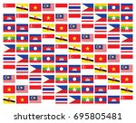 pattern of asean flags | Shutterstock .eps vector #695805481
