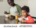 african american father and... | Shutterstock . vector #695805901