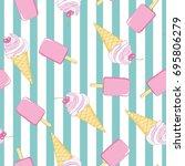 ice cream  pattern  vector ...   Shutterstock .eps vector #695806279
