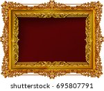 gold photo frame with corner... | Shutterstock .eps vector #695807791