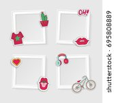 realistic photo frames for... | Shutterstock .eps vector #695808889