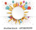 white paper banner  emblem ...   Shutterstock .eps vector #695809099