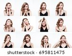 different emotions collage. set ... | Shutterstock . vector #695811475