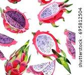exotic pitaya healthy food...   Shutterstock . vector #695812504