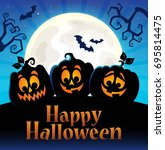 happy halloween sign with... | Shutterstock .eps vector #695814475