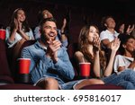 happy smiling audience clapping ... | Shutterstock . vector #695816017