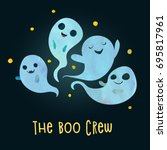 boo crew. group of very scary... | Shutterstock .eps vector #695817961