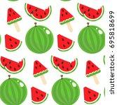 seamless pattern of watermelon... | Shutterstock .eps vector #695818699