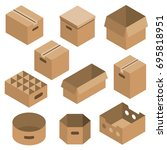 cardboard box vector set in... | Shutterstock .eps vector #695818951