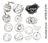 hand drawn sketch style longan... | Shutterstock .eps vector #695819194