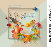 artistic creative autumn card.... | Shutterstock .eps vector #695820799