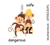 opposite safe and dangerous... | Shutterstock .eps vector #695823691