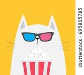 white cat eating popcorn.... | Shutterstock .eps vector #695825785