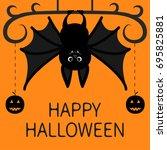 bat hanging. dash line pumpkin... | Shutterstock .eps vector #695825881