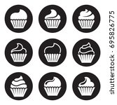 cupcakes icons. white on a... | Shutterstock .eps vector #695826775