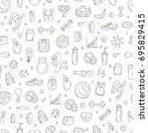 vector pattern on fitness theme....   Shutterstock .eps vector #695829415