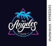 set of los angeles hand written ... | Shutterstock .eps vector #695832631