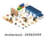 exterior warehouse building... | Shutterstock .eps vector #695835499