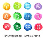 watercolor signs of the zodiac. ... | Shutterstock . vector #695837845