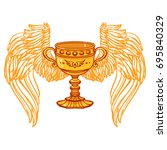illustration of holy grail cup... | Shutterstock .eps vector #695840329