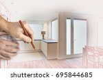 drawing and planned of a... | Shutterstock . vector #695844685