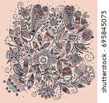 vector floral illustration of... | Shutterstock .eps vector #695845075