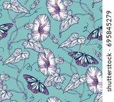 vector floral seamless pattern... | Shutterstock .eps vector #695845279