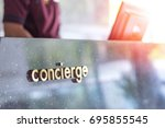 concierge service desk counter... | Shutterstock . vector #695855545