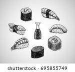 vector design sushi menu   hand ...   Shutterstock .eps vector #695855749