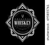vintage whiskey badge art deco... | Shutterstock .eps vector #695855761