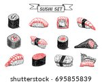 sushi and rolls hand drawn... | Shutterstock .eps vector #695855839