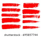 Painted Grunge Stripes Set. Red ...