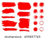 painted grunge stripes set. red ... | Shutterstock .eps vector #695857765