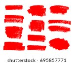 painted grunge stripes set. red ... | Shutterstock .eps vector #695857771