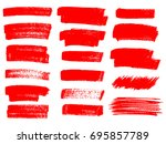 painted grunge stripes set. red ... | Shutterstock .eps vector #695857789