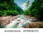 mysterious mountainous jungle... | Shutterstock . vector #695858191