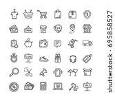 ecommerce icon black thin line... | Shutterstock . vector #695858527
