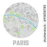 minimalistic paris city map... | Shutterstock .eps vector #695858785