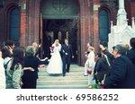 Bride And Groom At Church Door...