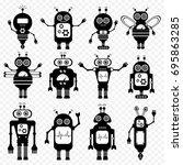 set of vector robots in cartoon