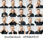 set of young man's portraits... | Shutterstock . vector #695864515